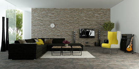 modern architecture: Large modern living room with textured accent wall to resemble bricks with comfortable sofas and a yellow armchair in front of large open glass patio doors, 3d rendering
