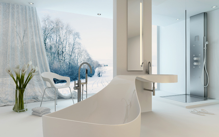 ultra modern: Ultra Modern Design Bathroom interior with unusual shaped bathtub, shower and floor-to-ceiling window with a winter landscape view. 3d Rendering.