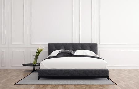 벽에 흰색 나무 벽판과 패널 프레임의 중앙에 작은 사이드 테이블 깔개와 더블 침대 나무 마루 바닥과 세련된 미니멀 한 침실 인테리어 3d 렌더링