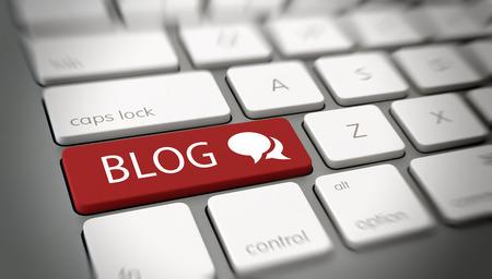 Online Blog oder Blogging-Konzept mit einem roten Knopf auf einem weißen Computer-Tastatur mit dem Wort eingeben - Blog - und ein Chat-Symbol, schließen hohe Winkelsicht mit Unschärfe-Vignette auf. 3D-Rendering. Lizenzfreie Bilder