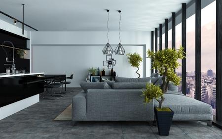 Geräumige moderne offene Wohnzimmer mit Küche und komfortable grau Sofas in zwei Sitzbereiche vor Panoramafenster Blick gebaut, 3D-Rendering