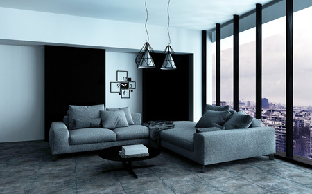 Comfortable corner in a spacious modern living room interior with grey upholstered couches in front of a floor-to-ceiling view window. 3d Rendering.