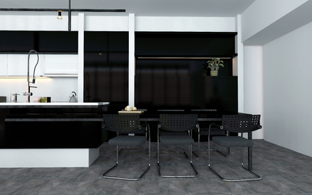 black appliances: Open-plan kitchen with fitted appliances and a bar counter with contemporary stools at the end with black, white and grey decor, 3d rendering