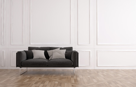 Grey couch in a classic wood panelled room with white wainscoting and a wooden parquet floor with plenty of copyspace for interior decor, 3d render
