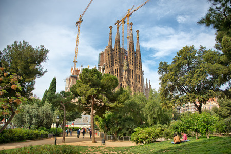 modernist: Gothic exterior of the Sagrada Familia, Barcelona, Spain designed in modernist style by Antoni Gaudi and a popular historic tourist landmark although still under construction Editorial