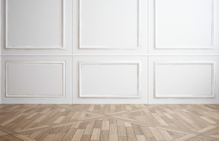 Empty room with classic white wood paneling on the walls and a hardwood parquet floor for use as an interior design or decor background, 3d render