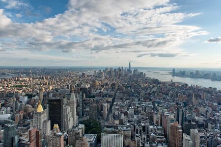 hudson river: Overview of New York city and the Hudson River looking across the rooftops towards the Bay from an elevated viewpoint Stock Photo