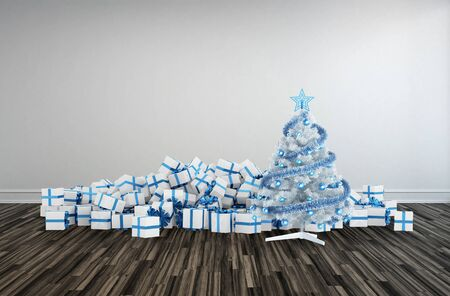giftwrapped: Christmas decoration with heaps of decorative gift-wrapped presents surrounding a decorated white Christmas tree themed with blue accents for a large family gathering
