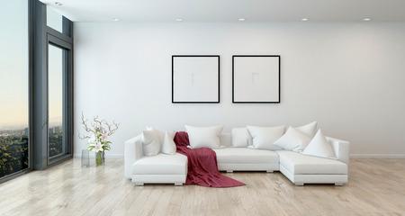 高層コンドミニアム - 赤のオープン コンセプト アパートの建築インテリアは最小限の家具とオープン コンセプト モダンなリビング ルームで白の部門別のソファーに毛布をスローします。3 d レンダリング