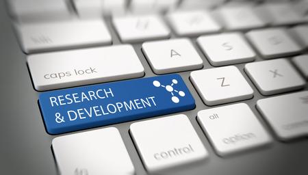 Online Onderzoek en Ontwikkeling concept met witte tekst - Onderzoek en ontwikkeling - en een atomaire structuur pictogram op een blauwe enter-toets op een witte toetsenbord van de computer bekeken hoge hoek met vervagen vignet