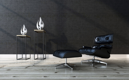 footstool: Comfortable black leather recliner chair with a matching footstool in a modern home interior with a wooden parquet floor, black wall and two contemporary sculptures, 3d rendering