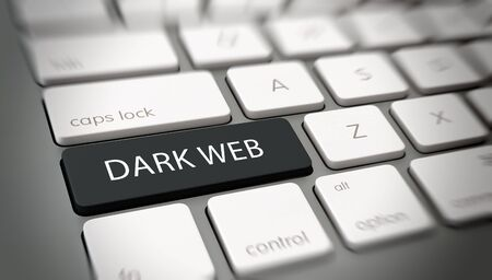 addresses: Dark Web concept for inaccessible web addresses with white text - Dark Web - on a black enter key on a white computer keyboard viewed obliquely at a high angle with blur vignette for focus Stock Photo