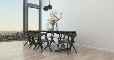 architectural rendering: Table and Chairs in Sparsely Decorated Dining Room in High Rise Condominium Building - Architectural Interior of Contemporary Dining Room with Dramatic Flower Arrangement and Bare Walls. 3d Rendering