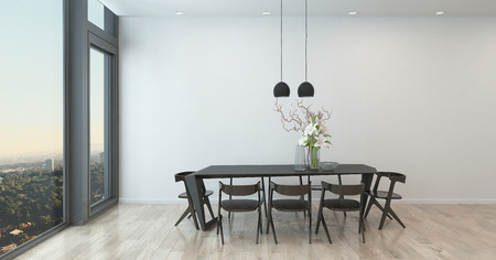 dining table and chairs: Table and Chairs in Sparsely Decorated Dining Room in High Rise Condominium Building - Architectural Interior of Contemporary Dining Room with Dramatic Flower Arrangement and Bare Walls. 3d Rendering