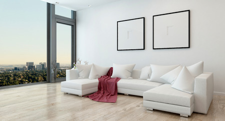 luxury living room: Architectural Interior of Open Concept Apartment in High Rise Condo - Red Throw Blanket on White Sectional Sofa in Open Concept Modern Living Room with Modern Furnishings. 3d Rendering Stock Photo
