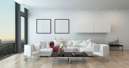 Architectonische Interieur van Open Concept Appartement in High Rise Condo - Low Coffee Table and White sofa in open concept moderne woonkamer met moderne meubels. 3D-rendering