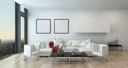 case moderne: Architettura d'interni dell'Open Concetto Appartamento a High Rise Condo - Tavolino basso e bianco Divano in open space soggiorno moderno con arredi moderni. Rendering 3D