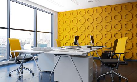 muebles de oficina: Interior de la oficina moderna con funishing amarilla. Representación 3d.