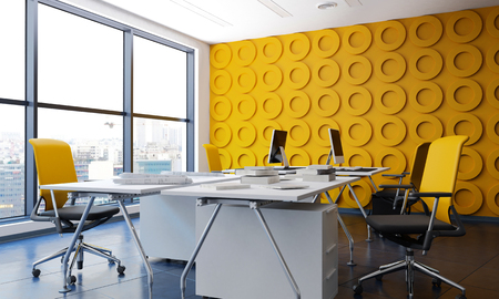 office window view: Modern office interior with yellow funishing. 3d Rendering.