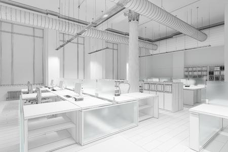 anuncio publicitario: Llano blanco concepto de representación 3D de interior de la oficina Foto de archivo