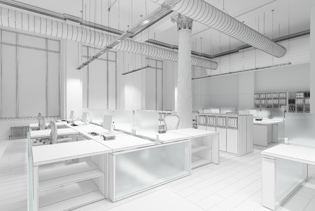 commercial: Plain white concept 3d rendering of office interior