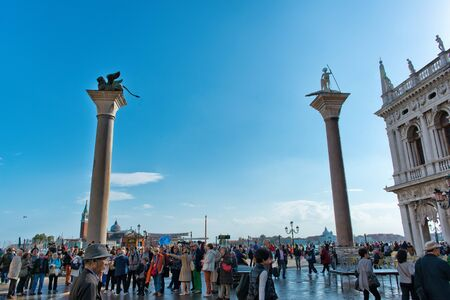 st  mark's square: VENICE, ITALY - 17 OCTOBER 2015: St. Marks Square (Piazza San Marco) during high tide (acqua alta) in Venice, Italy. Acqua alta is an unusual high tide, which floods parts of Venice. October 17 2015. Editorial