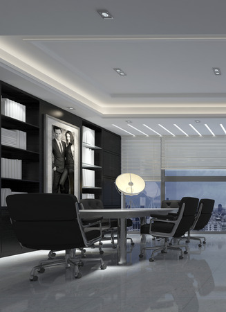 down lights: 3d render of a modern black and white dining room interior decor in a luxury urban apartment with illuminated down lights and artwork on the wall. 3d rendering. Stock Photo