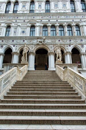 doges  palace: Marble stairway in the yard of Palazzo Ducale (Doges Palace) in Venice, Italy