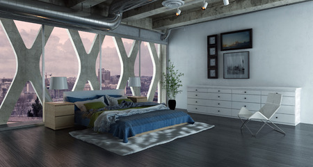 Modern bedroom loft interior with large double bed. 3d Rendering.