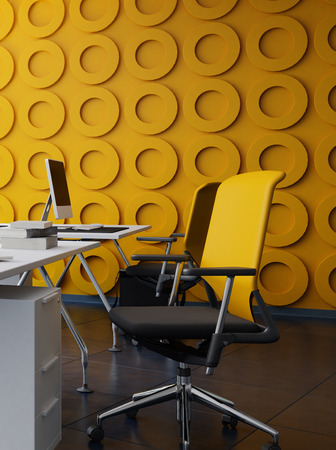 interior walls: Modern office interior with yellow funishing. 3d Rendering.