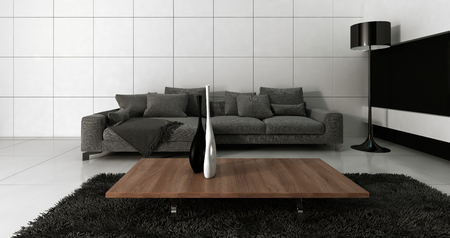 Modern design white living room interior with grey couch against white wall. 3d Rendering.