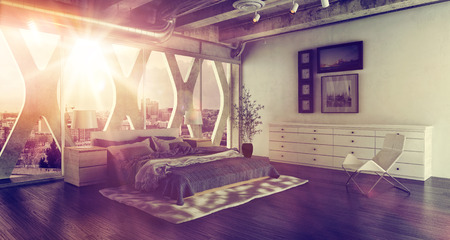 view of a comfortable bedroom: Modern bedroom loft interior with large double bed. 3d Rendering.