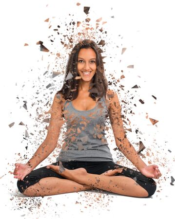 lotus effect: Beautiful Girl doing a Yoga Lotus pose with a modern shattered effect around her