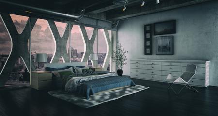 Interni moderni camera da letto soppalco con letto matrimoniale. Rendering 3D. Archivio Fotografico