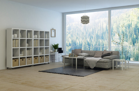 view of a spacious living room: Cozy corner in a modern living room with a large panoramic floor-to-ceiling window overlooking a rural forest. 3d rendering.