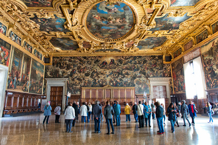 doge's palace: VENICE, ITALY - 17 OCTOBER 2015: Interior of the Palazzo Ducale (Doges Palace) in Venice, Italy on 17 October 2015.
