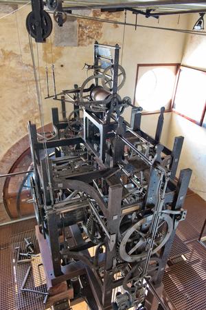 clocktower: VENICE, ITALY - 17 OCTOBER 2015: Clockwork mechanism inside Torre dellOrologio (St Marks Clocktower) in Venice, Italy, October 17 2015.