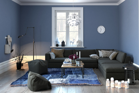 apartment: Interior of a modern lounge or living room in grey and blue decor with a comfortable couch and pouffe and single central window. 3d rendering.
