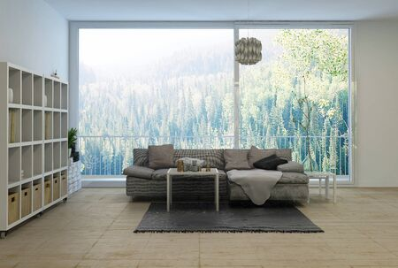 view of a spacious living room: Spacious modern living room overlooking a forest with wall mounted cabinet, comfortable sofa and large view window. 3d rendering.
