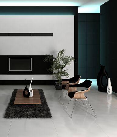 Modernes Design Schwarz-Weiß-Stil Wohnzimmer Innenraum mit grauen Couch gegen die weiße Wand. 3D-Rendering. Standard-Bild