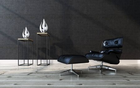 the footstool: Comfortable black leather recliner chair with a matching footstool in a modern home interior with a wooden parquet floor, black wall and two contemporary sculptures, 3d rendering