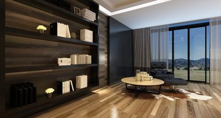 탁 트인 창 앞에 큰 벽 캐비닛과 검은 색 안락 의자와 세련된 현대 집에서 편안한 거실 인테리어입니다. 3D 렌더링. 스톡 콘텐츠