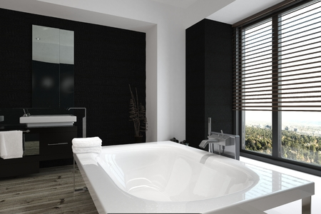 Close up high angle view of a modern freestanding white bathtub in a luxury black and white bathroom interior with large windows overlooking a garden, 3d, render Stock Photo