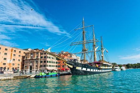 palinuro: Italian navy training ship, the Palinuro, a historic barquentine, moored in Venice, Italy in the Giudecca canal