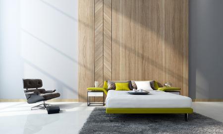 chambre: intérieur de la chambre contemporaine avec un canapé-lit double et armoires en face de panneaux de bois et d'un fauteuil confortable dans une chambre double volume. Rendu 3D.