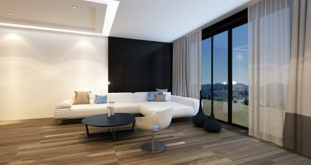 Esquina acogedora en una sala de estar en la noche iluminada por las luces del techo con una televisión grande, sofá de la esquina y un sillón frente a las ventanas panorámicas de piso a techo con vistas país. Representación 3d.