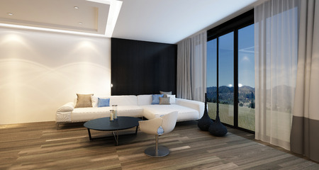Gemütliche Ecke in einem Wohnzimmer in der Nacht von Deckenbeleuchtung mit einem großen Fernseher, Ecksofa und Sessel vor Panorama vom Boden bis zur Decke reichenden Fenster mit Blick auf die Landschaft beleuchtet. 3D-Rendering.