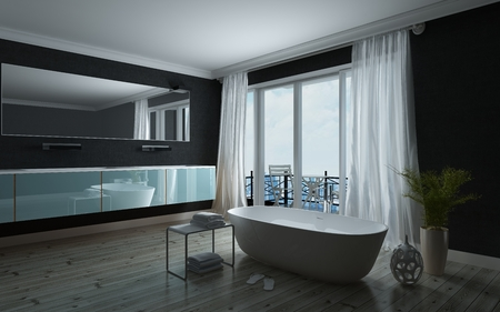 corner tub: Stylish black and white bathroom interior with a freestanding bathtub in front of large windows leading to a balcony with long wall mounted vanity unit and mirror. 3d Rendering.
