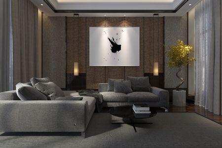 Cozy luxury living room interior at night with comfortable lounge suite, drawn drapes and artwork illuminated by down lights, 3d render