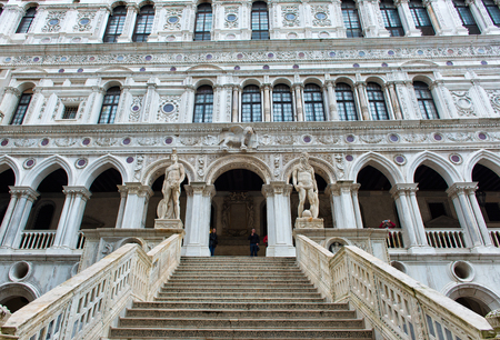 doges: Marble stairway in the yard of Palazzo Ducale (Doges Palace) in Venice, Italy